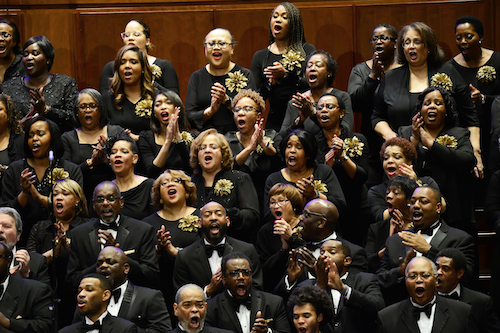 """The combined Washington Performing Arts Gospel Choirs and the Choral Arts Society Chorus perform at the 2019 """"Living the Dream … Singing the Dream."""" (Courtesy of the Washington Performing Arts)"""
