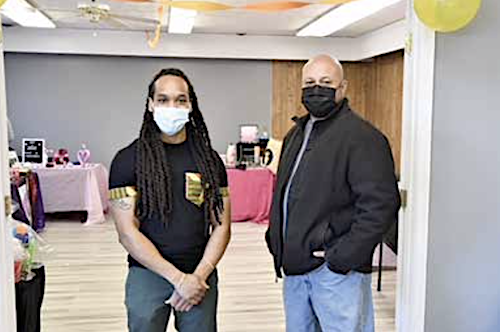 James Peteet (left) stands next to John Bailey IV, president of the Camp Springs Civic Association, inside Peteet's Next Generation Event Studio, which held a grand opening on Jan. 23. (Anthony Tilghman/The Washington Informer)