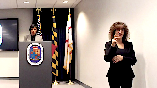 Prince George's County Executive Angela Alsobrooks speaks during a Feb. 5 press conference to announce recommendations made by the county's Police Reform Work Group.