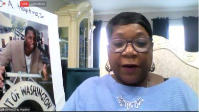 Marion Gray-Hopkins, mother of Gary Hopkins Jr., who was killed by Prince George's County police in 1999, speaks during a Feb. 15 virtual press conference on ending qualified immunity for police officers.