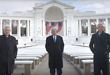 From left: Former Presidents Bill Clinton, George W. Bush and Barack Obama appear in a PSA on the importance of the coronavirus vaccine.