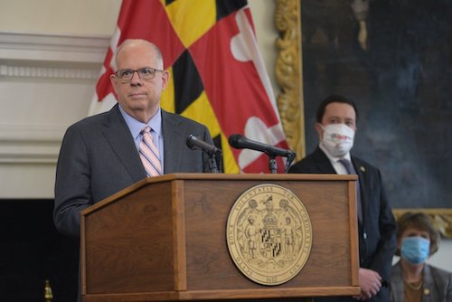 Maryland Gov. Larry Hogan speaks during a March 23 press briefing in Annapolis to give an update on the state response to the coronavirus pandemic. (Courtesy of the governor's office)