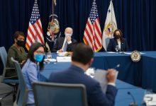 President Joe Biden, Vice President Kamala Harris, Atlanta Mayor Keisha Lance Bottoms, Georgia state Sen. Michelle Au and Asian American community leaders meeting in Atlanta on March 19. (White House photo)