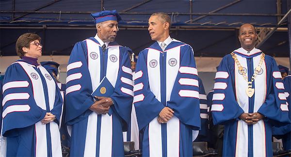 **FILE** From left: Valerie Jarrett, Vernon Jordan Jr., Barack Obama and Dr. Wayne A.I. Frederick (Courtesy of HUNS)