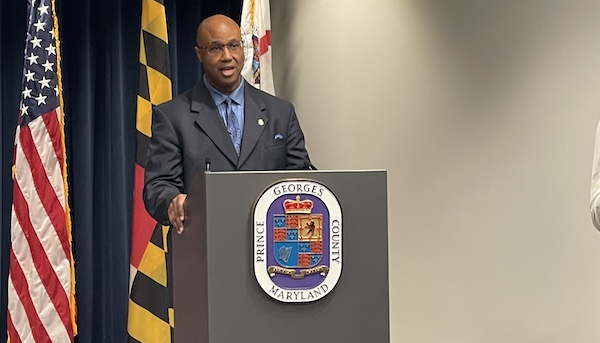 Malik Aziz (left) speaks during a March 26 press conference at the Wayne K. Curry Administration Building in Largo, Maryland, to announce him as Prince George's County's new police chief. (Anthony Tilghman/The Washington Informer)