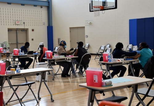Prince George's County residents at a vaccination clinic at Kentland Community Center on March 15 (Anthony Tilghman/The Washington Informer)