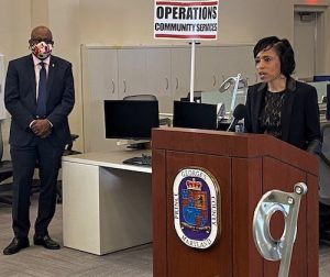 Prince George's County Executive Angela Alsobrooks gives an update on the county's coronavirus response during a March 4 press conference at the county's Emergency Operations Center as George Askew, Prince George's deputy chief administrative officer for health, human services and education, stands nearby. (William J. Ford/The Washington Informer)