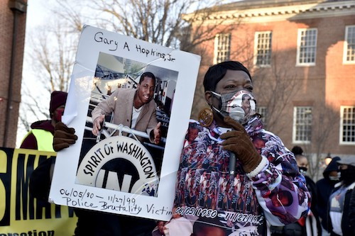 Marion Gray-Hopkins, mother of Gary Hopkins Jr., who was killed by Prince George's County police in 1999, speaks at a March 4 rally in Annapolis for police reform. (Rob Roberts/The Washington Informer)