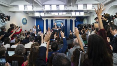 **FILE** Secretary of State Mike Pompeo and Secretary of the Treasury Steven Mnuchin speak to reporters Tuesday, Sept. 10, 2019, in the James S. Brady Press Briefing Room of the White House. (Official White House Photo by Andrea Hanks)
