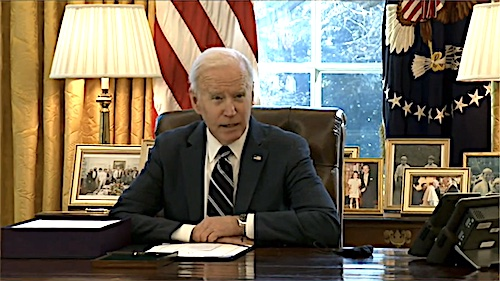 President Joe Biden signs the American Rescue Plan — his sweeping $1.9 trillion coronavirus relief package — into law at the White House on March 11.