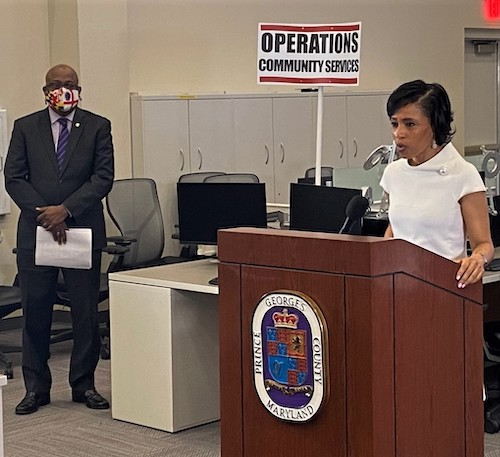 Prince George's County Executive Angela Alsobrooks speaks during a March 11 press conference on the county's response to the coronavirus pandemic. (William J. Ford/The Washington Informer)