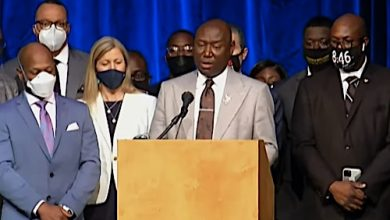 Civil rights attorney Ben Crump speaks during a March 12 press conference to announce a $27 million settlement in a wrongful-death lawsuit with the city of Minneapolis and the family of George Floyd, who was killed while in police custody in May 2020. Crump is one of several attorney representing the family.