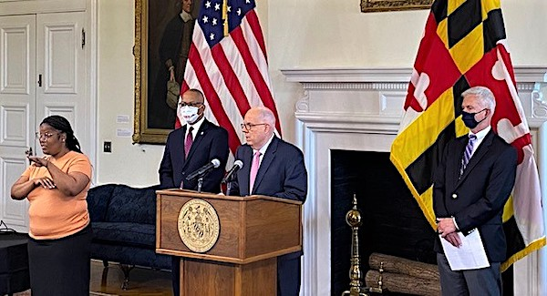 Maryland Gov. Larry Hogan speaks during an April 5 press briefing in Annapolis to give an update on the state response to the coronavirus pandemic. (William J. Ford/The Washington Informer)