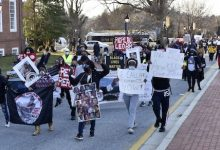 A few hundred people march toward the State House in Annapolis on March 4 demanding stronger legislation on police accountability and transparency. (Rob Roberts/ The Washington Informer)