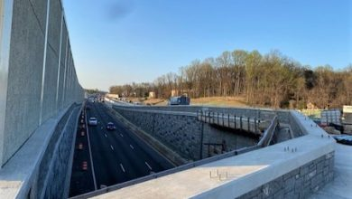 A look at vehicles traveling south on Route 210 in Oxon Hill on April 3 as construction continues at an interchange at Kerby Hill and Livingston roads (William J. Ford/The Washington Informer)