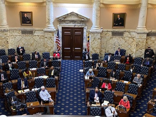 Members of the Maryland House of Delegates debate inside the State House on April 12, the final day of the 2021 legislative session. The remaining delegates deliberated in an annex across the street to maintain social distancing. (William J. Ford/The Washington Informer)