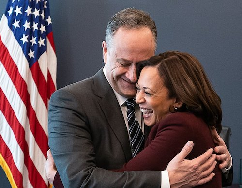 **FILE** Second Gentleman Doug Emhoff and Vice President Kamala Harris in the vice president's office at the White House (Wikimedia Commons)