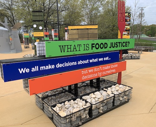 "The outdoor ""Food for the People"" exhibition on the front plaza of the Smithsonian's Anacostia Community Museum (Photo by Samir Meghelli)"