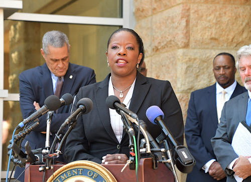 Prince George's County State's Attorney Aisha Braveboy speaks during a May 19 press conference about a regional initiative to combat carjacking in the D.C. region. (Anthony Tilghman/The Washington Informer)