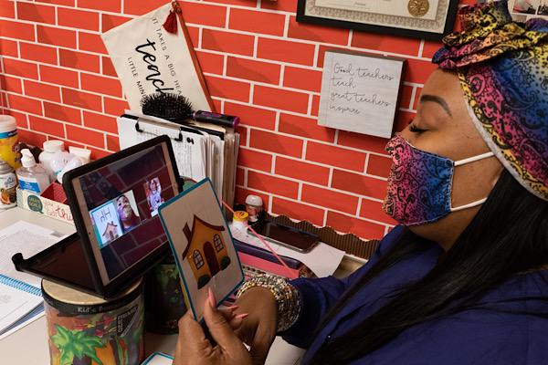 **FILE** Tanza Terrell teaches virtually during the COVID-19 pandemic. (Shevry Lassiter/The Washington Informer)