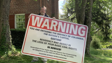 Photo of D.C. Shadow Senator Erects Sign Warning Incoming Residents of Loss of 'Basic Civil Rights'