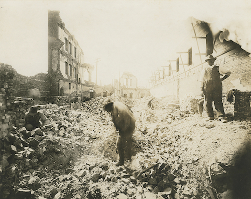 Greenwood's Gurley Hotel after the 1921 Tulsa Massacre, a photograph by Reverend Jacob H. Hooker