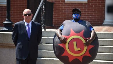 Maryland Gov. Larry Hogan (left) on May 20 announced the launch of the state's $2 million VaxCash promotion, which will award $2 million in cash prizes to a total of 41 residents who have received a coronavirus vaccination. (Courtesy of Lt. Gov. Boyd Rutherford via Twitter)