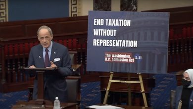 Sen. Thomas Carper (D-Del.), author of a bill calling for D.C. statehood, speaks May 25 during a series of speeches from the Senate floor touting the bill.