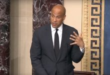 Sen. Cory Booker (D-N.J.) speaks May 25 during a series of speeches from the Senate floor touting a bill that would grant statehood to the District of Columbia.