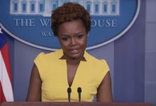 White House deputy press secretary Karine Jean-Pierre speaks during a press briefing at the White House on May 26, becoming the first Black woman in three decades to hold the daily briefing.