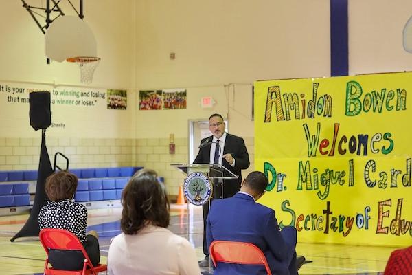 U.S. Secretary of Education Dr. Miguel Cardona visits Amidon-Bowen Elementary School in southwest D.C. (Brigette Squire/ The Washington Informer)