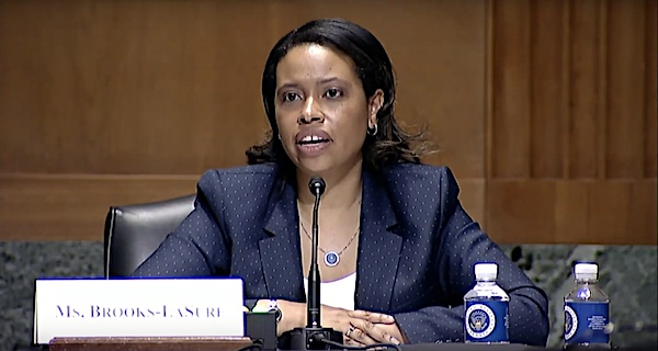 **FILE** Chiquita Brooks-LaSure addresses the Senate during an April 15 hearing on her nomination to serve as administrator for the Centers For Medicare and Medicaid Services.