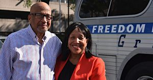 Freedom Rider Rev. Clyde Carter poses with visitor Debra Love in Birmingham, Alabama, on the 60th anniversary commemoration of the Freedom Riders. (Solomon Crenshaw Jr./The Birmingham Times via NNPA Newswire)