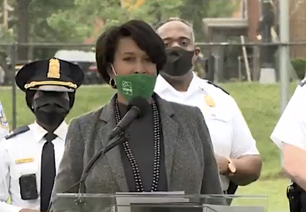D.C. Mayor Muriel Bowser announces the launch of the 2021 Safer Stronger DC Summer Crime Prevention Initiative on May 3.