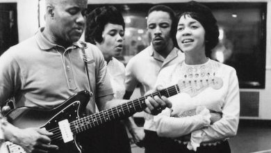 Pervis Staples (second from right) in the studio with The Staple Singers circa 1963