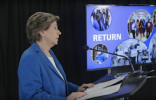 American Federation of Teachers President Randi Weingarten speaks during an address on May 13.