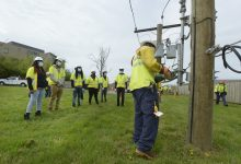 Pepco Utility Training School Program students participate in training at the D.C. Infrastructure Academy on April 14. Training is conducted in a non-energized work area. The program prepares District of Columbia residents for energy industry careers. (Courtesy of Pepco)