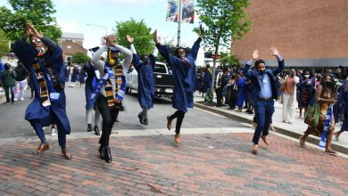 Howard University Class of 2021 graduates celebrate their in-person commencement on the grounds of the university on May 8. The ceremony honored graduates from this year and 2020. (Roy Lewis/The Washington Informer)