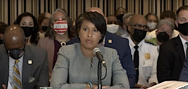 D.C. Mayor Muriel Bowser presents the fiscal 2022 budget to the city council on May 27.
