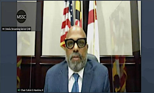 Prince George's County Council Chair Calvin Hawkins II speaks during a virtual council meeting on May 27.
