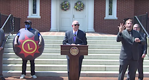 Maryland Gov. Larry Hogan speaks during a May 20 press conference to announce a $2 million program to incentivize state residents to get a coronavirus shot.