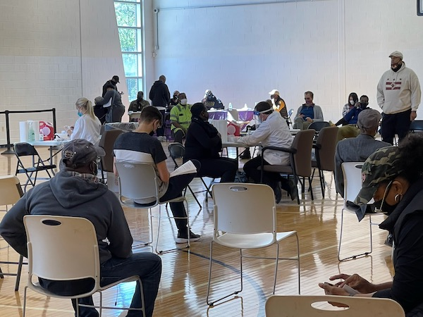 D.C. residents show up the first day of opening for designated walk-up vaccine sites. Several residents went to Turkey Thicket in Northeast to receive their appointment-free vaccine on Saturday, May 1. (Roy Lewis/The Washington Informer)