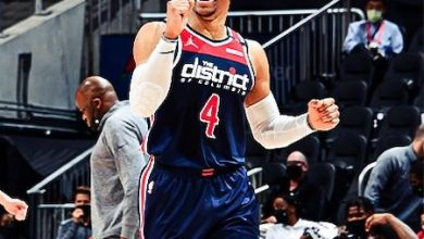 Washington Wizards guard Russell Westbrook broke Hall of Famer Oscar Robertson's 47-year-old career triple-doubles record with a 28-point, 13-rebound and 21-assist effort against the Atlanta Hawks on May 10. (Courtesy of the Wizards via Twitter)