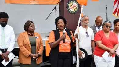Prince George's County State's Attorney Aisha Braveboy (center) speaks during a community rally outside Jericho City of Praise Family Ministries in Landover, Maryland, on June 1. (Anthony Tilghman/The Washington Informer)