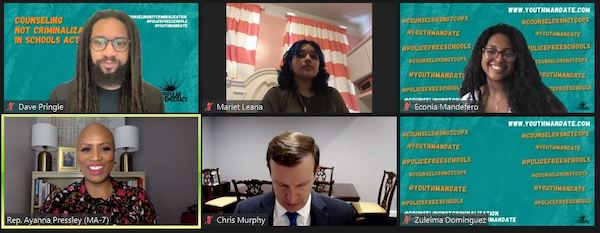 Rep. Ayanna Pressley (bottom left) and Sen. Chris Murphy (bottom center) lead a June 17 virtual press conference to announce plans to reintroduce legislation that favors funding for trauma-informed specialists in schools instead of more police in schools.