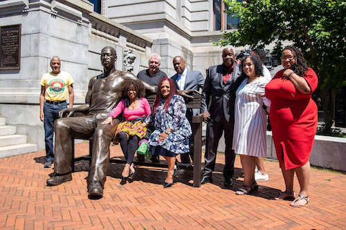 The city of Newark, New Jersey, unveils a statue of George Floyd outside of City Hall on June 16. (Courtesy of Newark via Twitter)