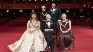 Clockwise from left: 2020 Kennedy Center Honorees Debbie Allen, Joan Baez, Garth Brooks, Midori and Dick Van Dyke are celebrated in Washington, D.C., in advance of the 43rd annual Kennedy Center Honors on June 6. (Michele Crowe/CBS)