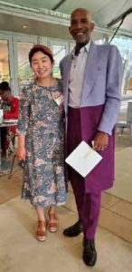 Grace Cho (left), executive director, New Orchestra of Washington, welcomes WI Senior Editor D. Kevin McNeir to the Lift Every Voice concert on Juneteenth, June 19 at the Strathmore in North Bethesda. (Courtesy of Pamela Christian-Wilson)