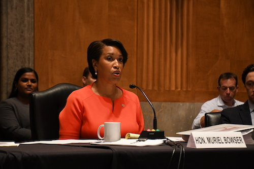 D.C. Mayor Muriel Bowser testifies before a Senate committee on behalf of statehood. (Roy Lewis/The Washington Informer)