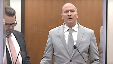 Former Minneapolis Police Officer Derek Chauvin speaks before he is sentenced for the 2020 death of George Floyd at the Hennepin County Courthouse in Minneapolis on June 25.